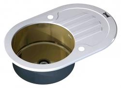 ZORG, Мойка кухонная Zorg Inox GL-7851-OV-WHITE-BRONZE белое стекло