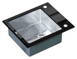 ZORG, Мойка кухонная Zorg Inox Glass  GL-6051-BLACK черное стекло