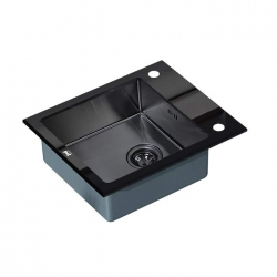 ZORG, Мойка кухонная Zorg Inox Glass GL-6051-BLACK-GRAFIT черное стекло